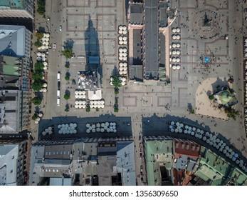 Aerial view of Main Market Square, Krakow, Poland