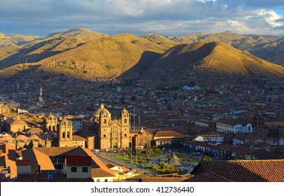 An aerial view of the main square of Cusco, Peru.