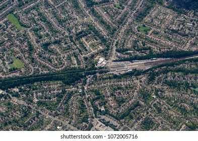 Aerial view of the mainline railway station at Orpington in the London Borough of Bromley.  The  suburban town is popular with commuters.