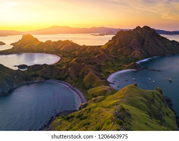 Aerial view of majestic Padar Island, with dramatic sunlight during sunset