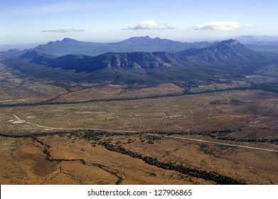 An aerial view of the majestic Wilpena Pound in the Flinders Ranges National Park, outback South Australia.