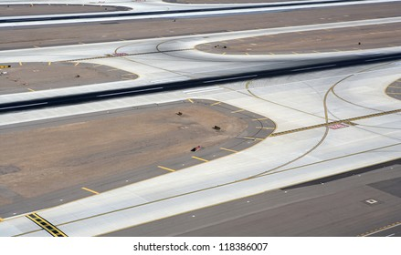 Aerial view of major airport runway and taxiway
