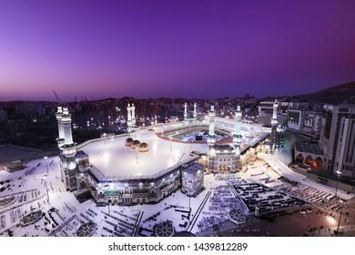 An aerial view of Makkah Grand mosque (Masjid Al Haram) and Kaaba