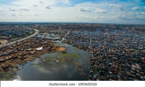 Aerial view of Makoko slum/plank market Lagos Nigeria
