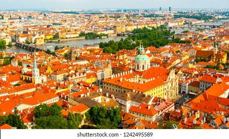 Aerial view of Mala Strana, St. Nicholas Chirch, Charles Bridge and Old Town, Prague, Czech Republic, Europe