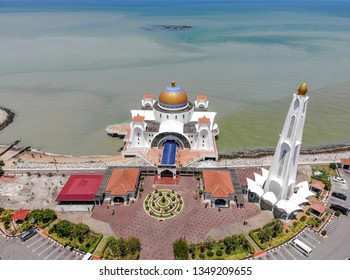 Aerial view of Malacca Straits Mosque or Masjid Selat Melaka