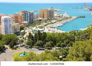 Aerial view of Malaga port, Andalusia, Spain