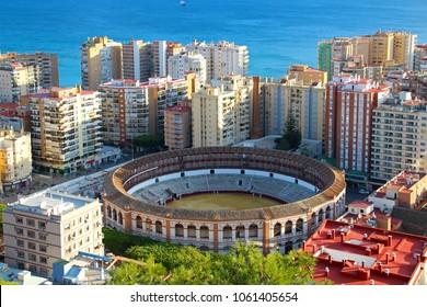 Aerial view of Malagueta district and bullring (Plaza de Toros La Malagueta), Malaga, Andalusia, Spain