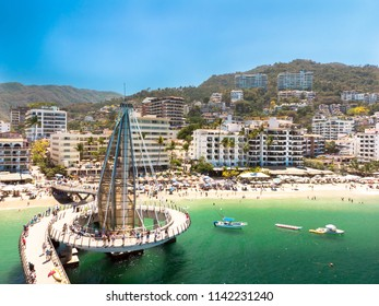 Aerial view of Malecon Playa los Muertos, Puerto Vallarta in a sunny and clear day.