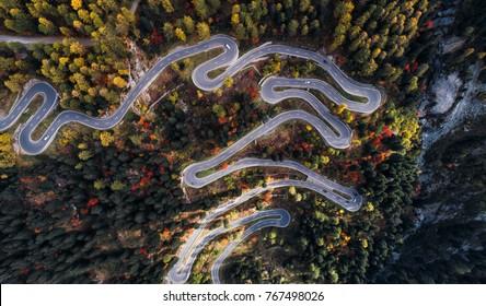 Aerial view of Maloja pass, serpentine road