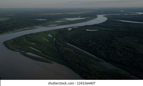 Aerial view of Mamore river at Puerto Geralda in the bolivian Pantanal. This picture was made at the end of dry season (25/11/2018).