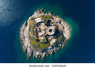 aerial view of Mamula island fort, Boka Kotorska bay of Adriatic sea