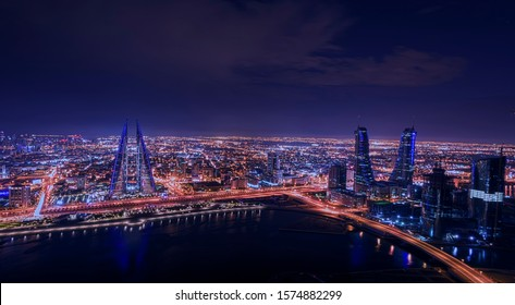 Aerial view of Manama in the night , Bahrain