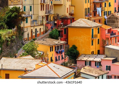 Aerial view of Manarola (Manaea), a small town in province of La Spezia, Liguria, Italy. It's one of the lands of Cinque Terre, UNESCO World Heritage Site