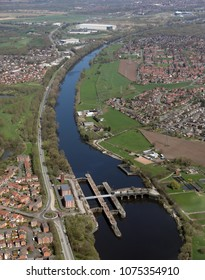 aerial view of the Manchester Ship Canal near Warrington, Cheshire, UK