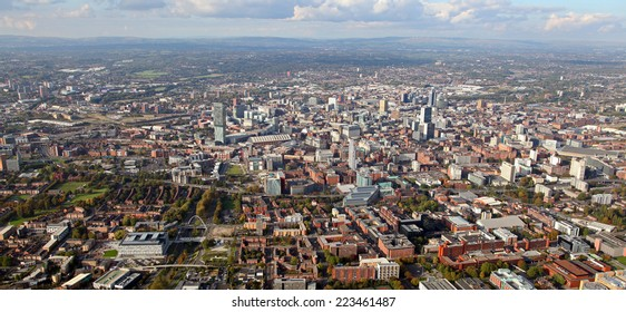 aerial view of the Manchester skyline