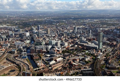 aerial view of the Manchester skyline, UK