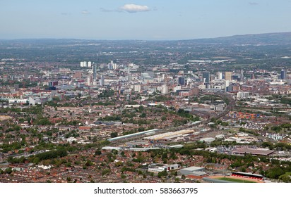 aerial view of Manchester from the south east looking towards the city centre