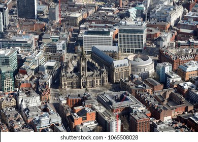 aerial view of Manchester Town Hall & city centre