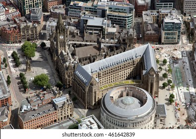 aerial view of Manchester Town Hall, UK