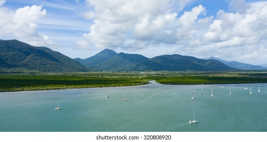 Aerial view of mangrove inlet and mountain range, Cairns, Queensland, Australia