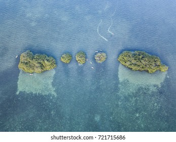 Aerial view of mangrove islands and calm lagoon inside Turneffe Atoll in Belize. The area supports a wide variety of marine life and mangroves serve as nurseries for fish and invertebrates.