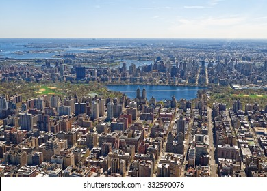 Aerial view of Manhattan and Central Park. Daylight scene of central Manhattan and Reservoir.