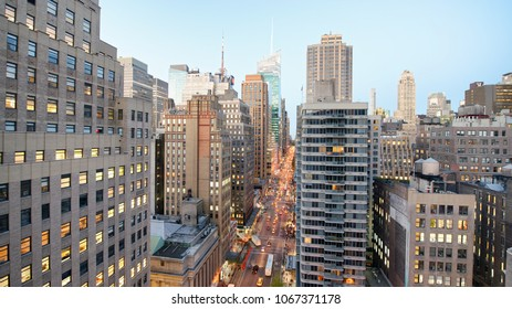 Aerial view of Manhattan from city rooftop.