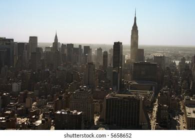 Aerial view of Manhattan city skyline, New York City.