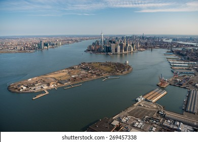 Aerial view of Manhattan and Governor's island, New York
