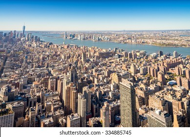 Aerial view of Manhattan midtown and downtown skyscrapers - New York City.
