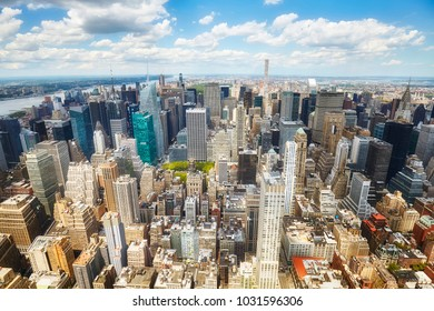 Aerial view of the Manhattan, New York City, USA.