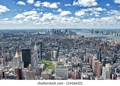 Aerial view of Manhattan, New York City and Hudson River.