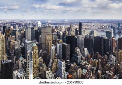 Aerial view of Manhattan, New York City.