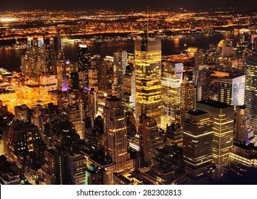 Aerial view of Manhattan New York at night