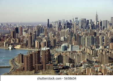 Aerial view of Manhattan in New York City.