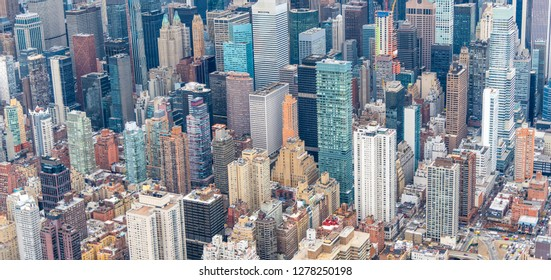 Aerial view of Manhattan skyline from helicopter in winter season, New York City.