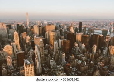 Aerial view of Manhattan skyline at sunset, New York City,Dec 1,2016