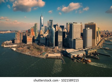 aerial view of Manhattan skyscrapers, from a helicopter, at sunrise