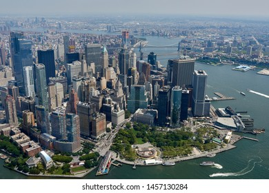 Aerial view of Manhattan skyscrapers in New York city on a sunny day