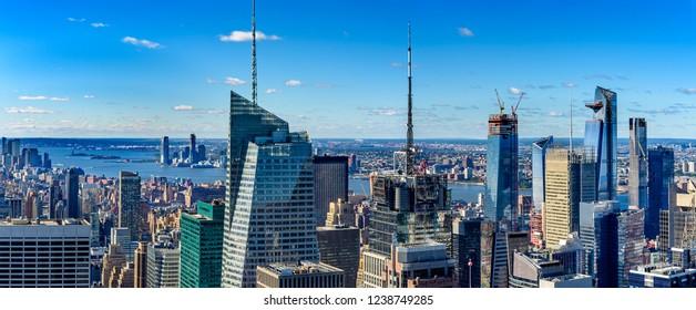 Aerial  view manhatten  skyscrapers in  New York.