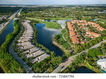 aerial view of manicured florida golf community