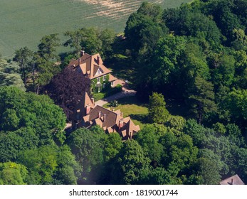 aerial view of a mansion