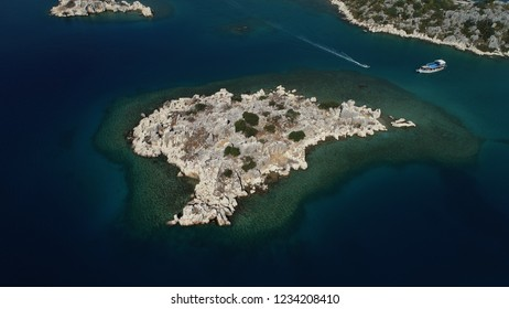 Aerial view of many little island in the 'Kekova' town and Mediterranean seacoast/Antalya-TURKEY