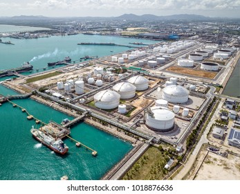 Aerial view of the Map Ta Phut ports and petrochemical plants, which handle liquid materials and natural gas, in Eastern Economic Corridor, Rayong, Thailand.
