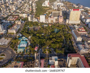 Aerial view of Maputo downtown with Tunduru Botanical Gardens, capital city of Mozambique
