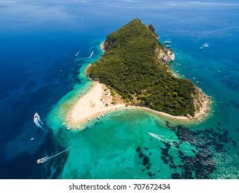 Aerial view of Marathonisi Island in Zakynthos (Zante) island, in Greece