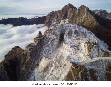 Aerial view of marble quarries in Tuscany, Italy