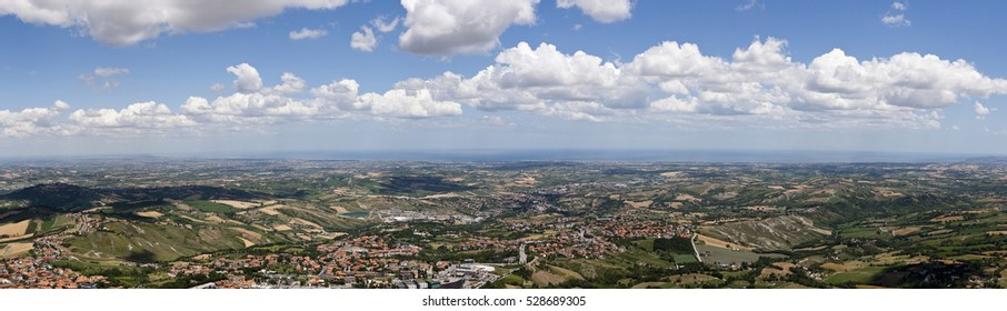 Aerial view of Marche region in Italy