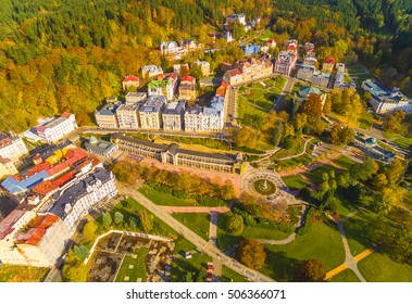 Aerial view to Marianske Lazne famous spa town near Karlovy Vary. European landmarks from above. Czech Republic, Central Europe. - Shutterstock ID 506366071